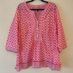 Talbots Pink/White Patterned Blouse